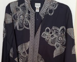 Chico's jacket with tall sleeves and printed patte
